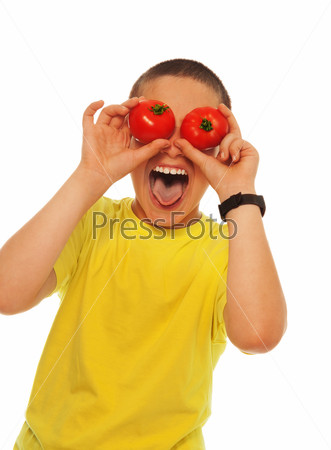 Crazy boy with tomatoes