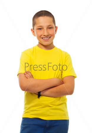 Confident boy in yellow shirt