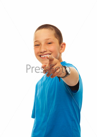 Boy pointing with his finger,
