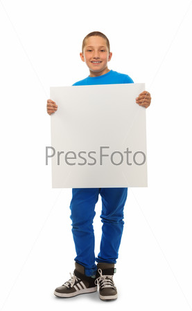Boy with blank banner