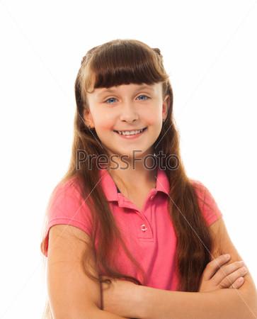 School girl with long hair