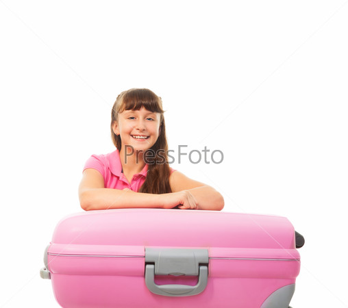 Happy laughing girl with suitcase