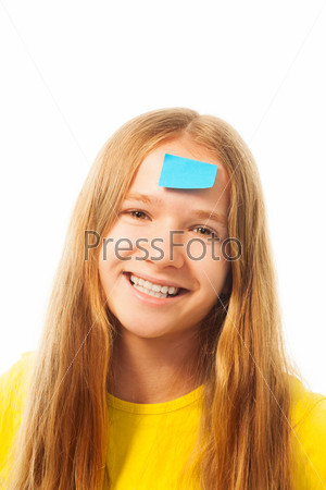 Girl with sticker on forehead