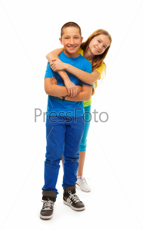 Boy hugs girl