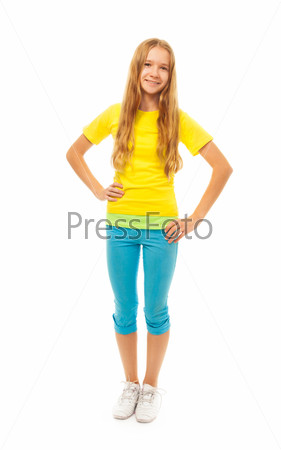Full height portrait of cute girl