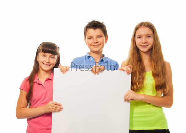Kids with advertising