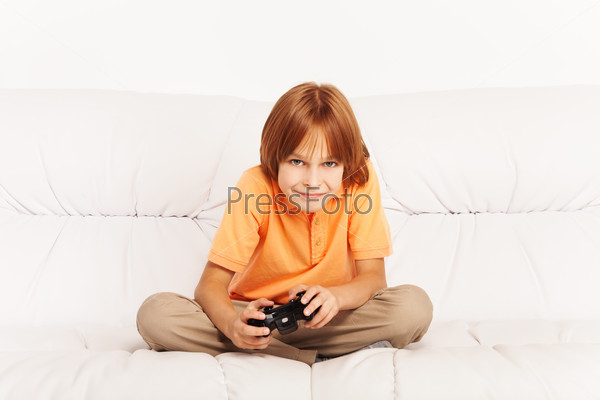 Boy playing video game