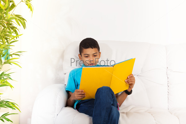 Busy reading smart boy