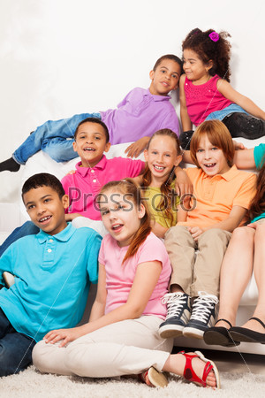 Kids having fun as group of friends