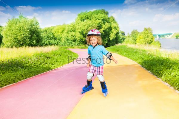 Boy pushing roller-skating