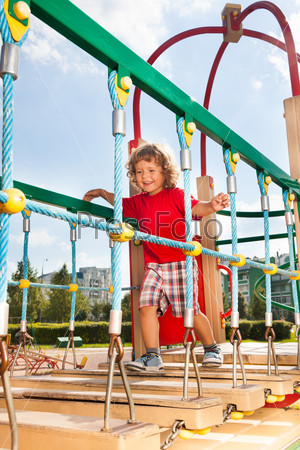 Suspension bridge on playground