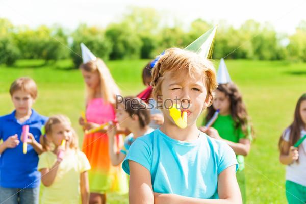Boy on birthday with friends