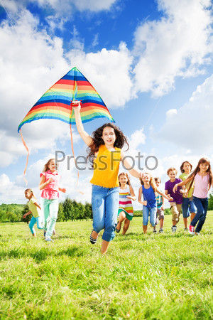 Large group of kids running