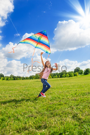 One little girl run with kite