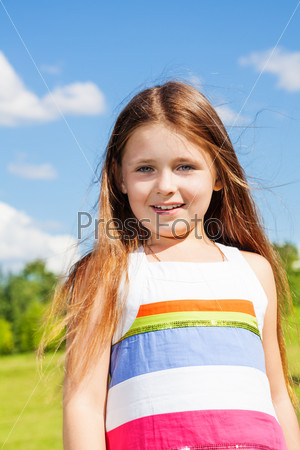 Close portrait of girl in the park