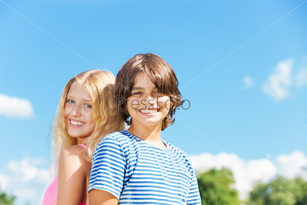 Close portrait of couple of kids