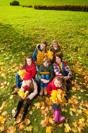 Kids on autumn lawn