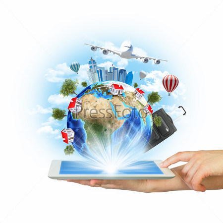 Hands hold tablet pc with Earth and buildings