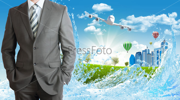 Businessmen with buildings and airplane