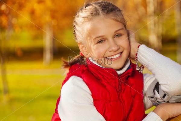Super cute happy school girl