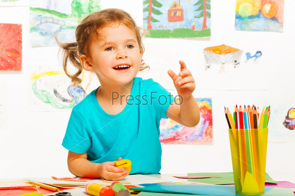Laughing girl in kindergarten