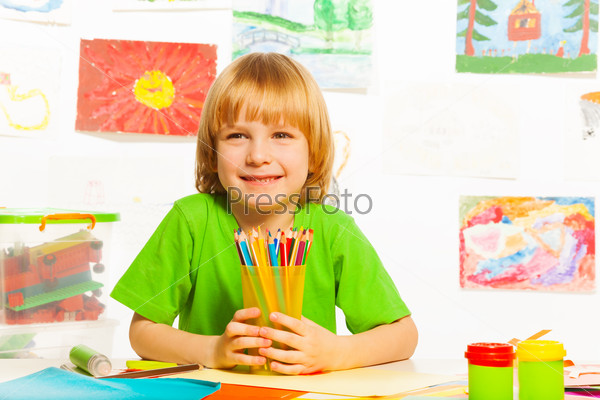 Boy with pencils