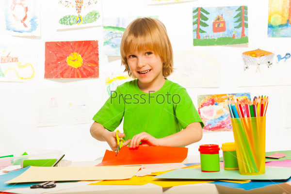 Boy cut paper