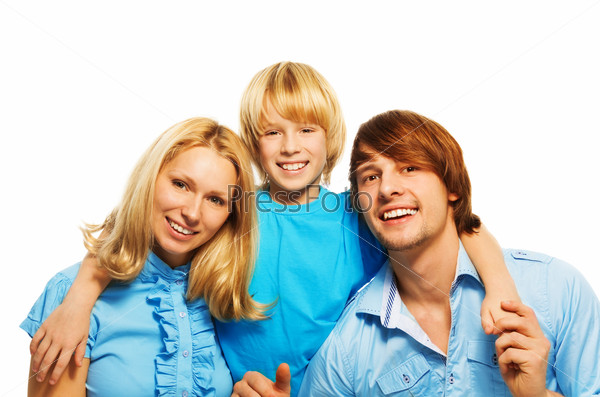 Little blond boy with loving parents