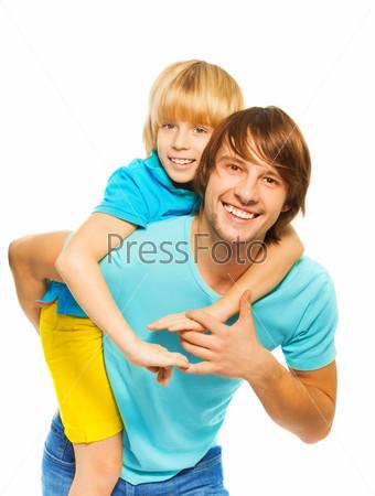 Father piggyback his son