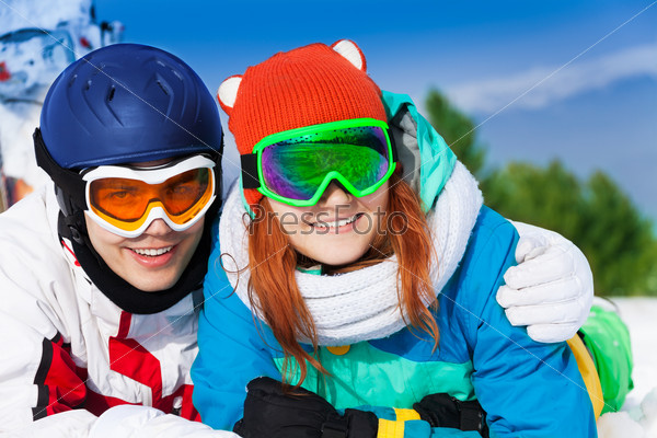 Portrait of man and woman in ski masks