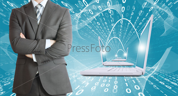 Businessmen with laptops. Figures as backdrop