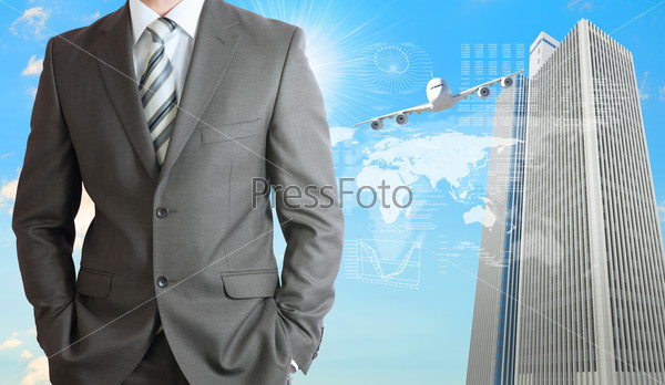 Businessmen with airplane, skyscrapers and world map