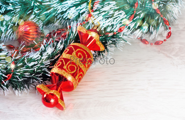 Red christmas candy with fir branches