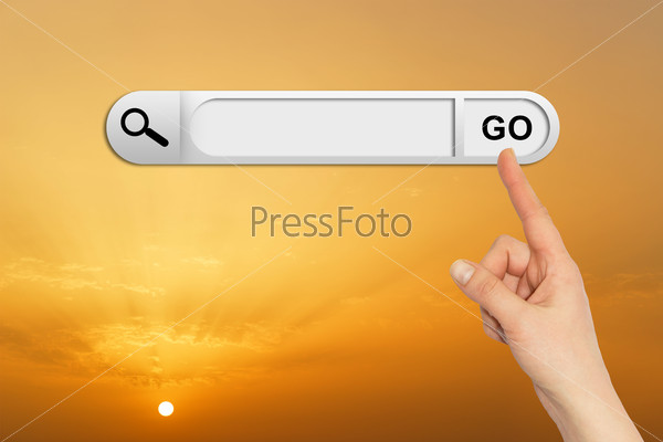 Human hand indicates the search bar in browser