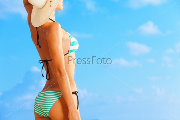 Attractive woman enjoy sunbath