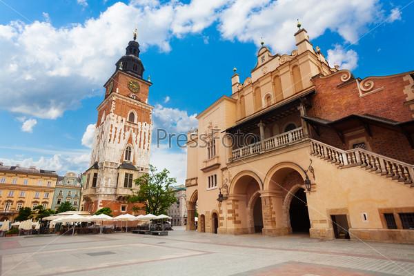 Town Hall Tower on Rynek Glowny in summer, Krakow