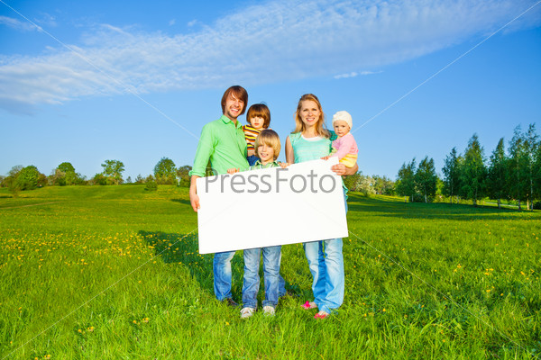 Happy family holds white square paper format