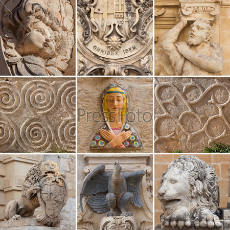 Фрагменты скульптур и архитектурных украшений на Мальте