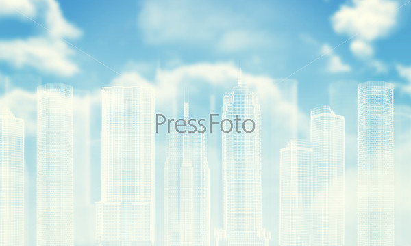 White wire-frame buildings. Bly sky with clouds, sun as backdrop