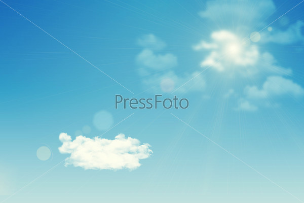 Shot from ground. Background of clouds, sun
