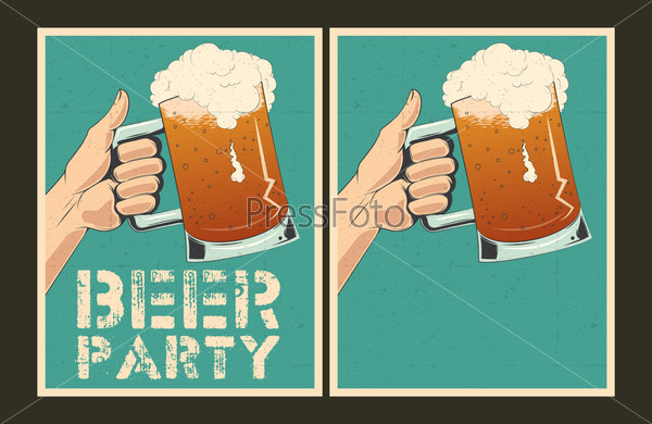 Set of vector Beer party posters.