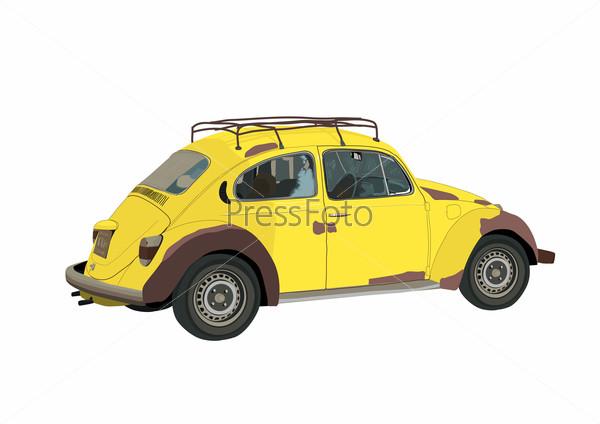 Старый желтый автомобиль