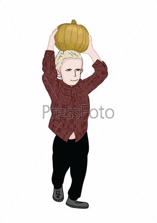 Мальчик с тыквой на голове н
