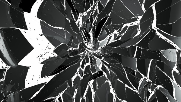 Pieces of splitted or cracked glass on white background