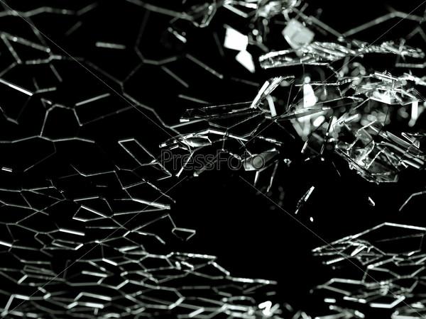 Destructed or broken glass pieces on black background