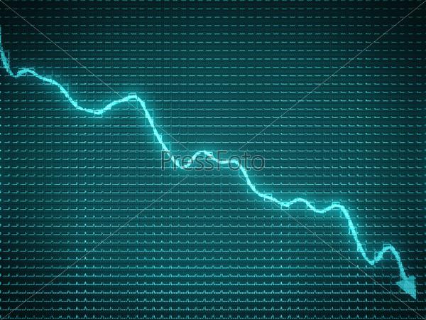 Blue arrow chart drop as symbol of financial crisis