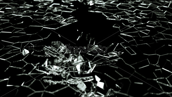 Broken and splitted glass pieces on black