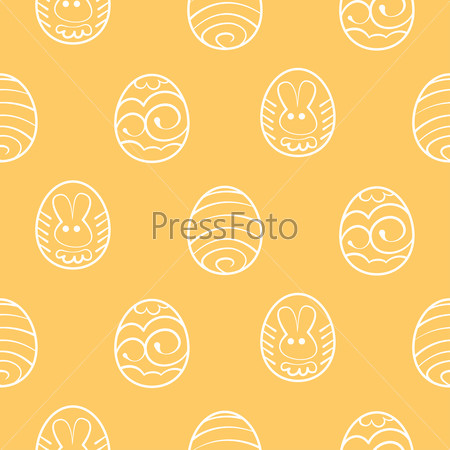 Easter seamless background. Decorated eggs on a yellow backgroun