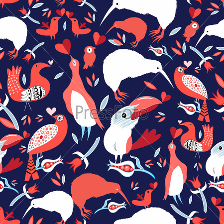 Bright floral pattern with birds