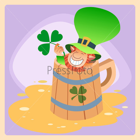 Leprechaun in a mug of beer St. Patrick day